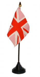 Great Britain Union Jack (Pink) Desk / Table Flag with plastic stand and base.